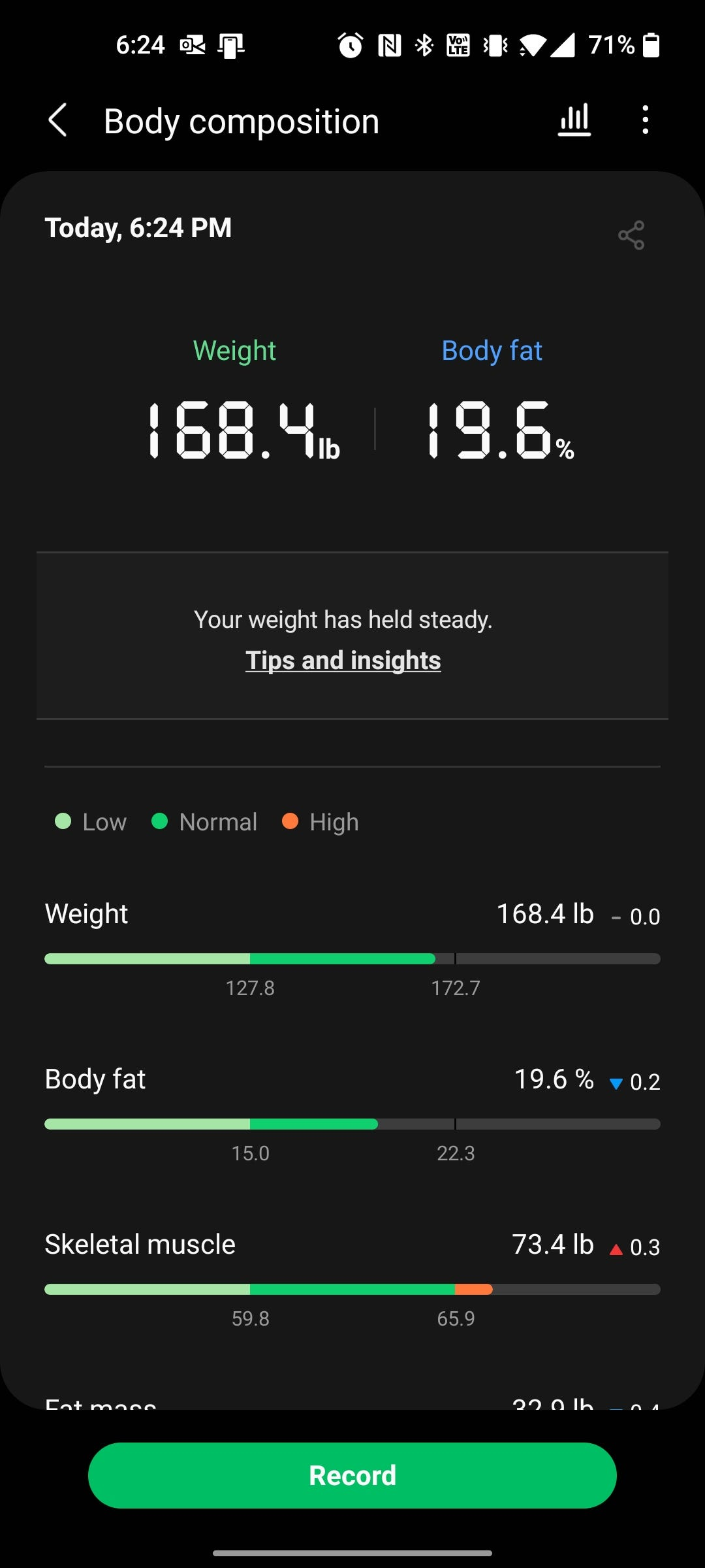 The Samsung Health app showing body composition