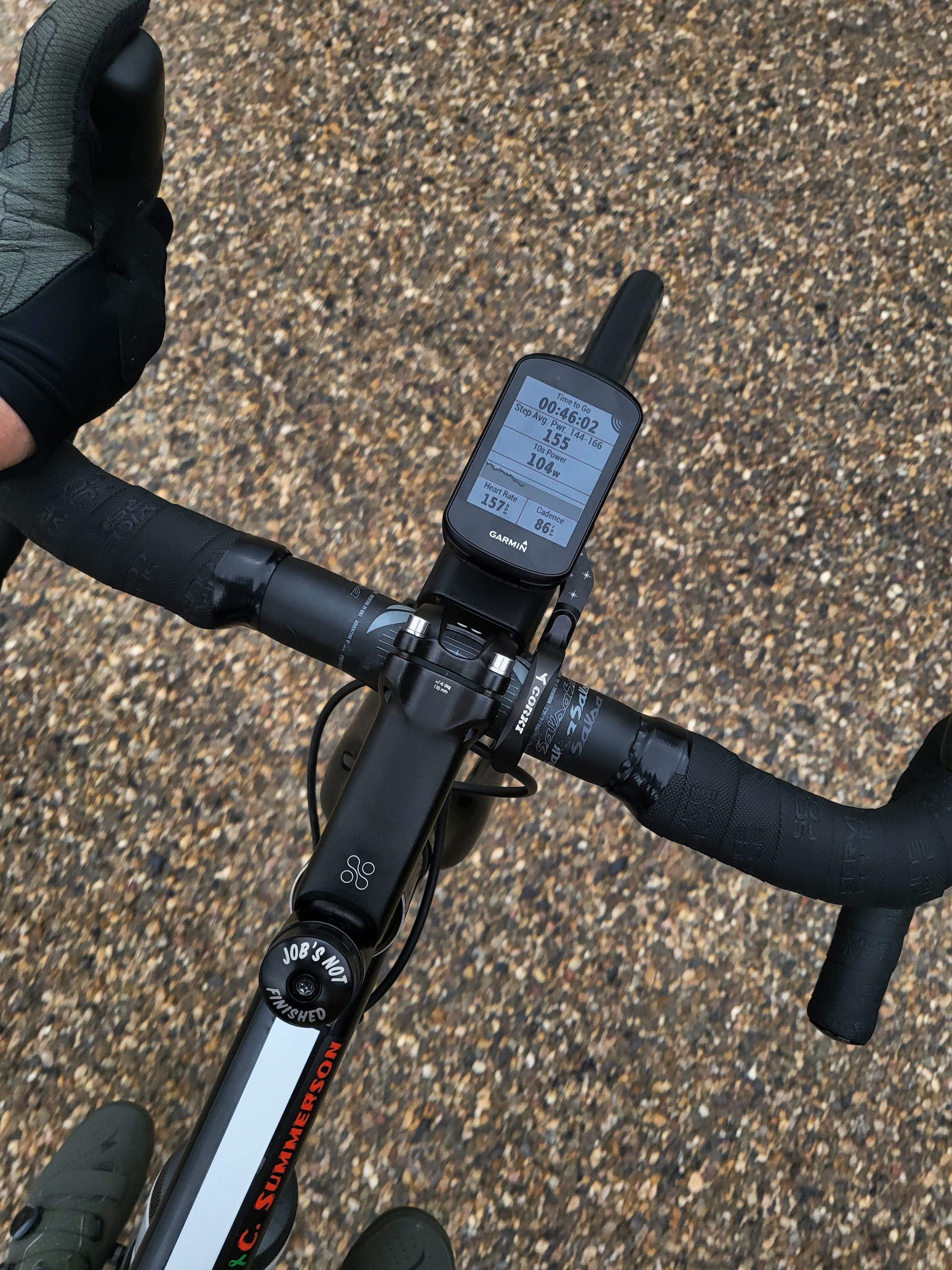 A shot of a bike take while riding