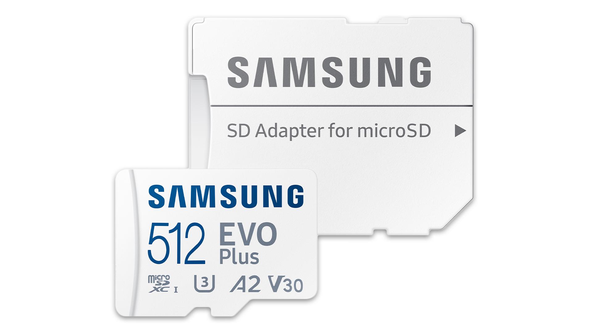 Samsung EVO Plus microSD card and adapter for regular SD card slot.