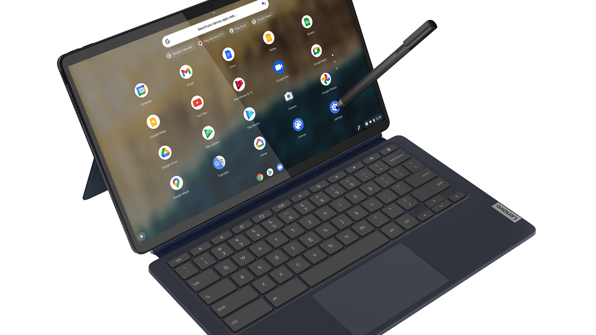 The Lenovo Chromebook Duet 5 with its detachable keyboard and stylus.