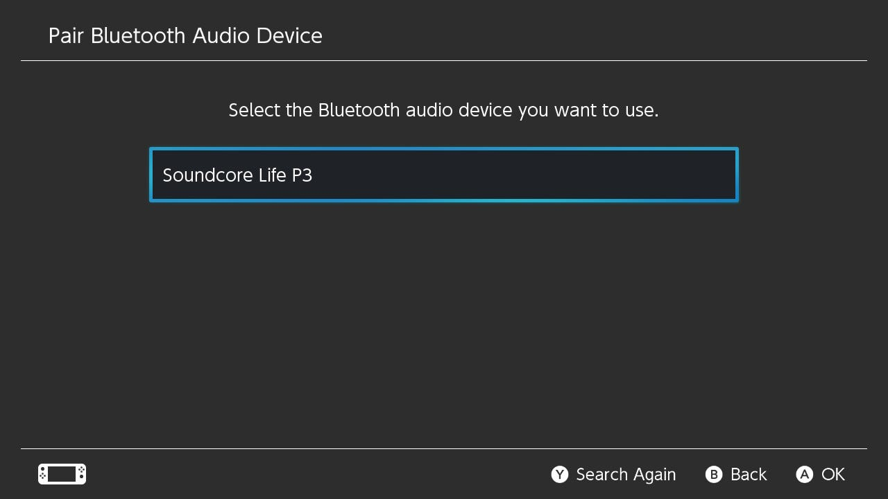 Nintendo Switch discovering Soundcore Life P3 earbuds.