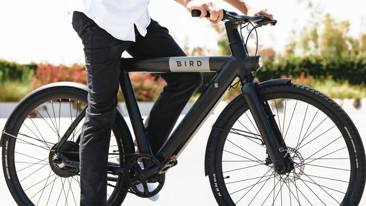 Someone riding a Bird bike.
