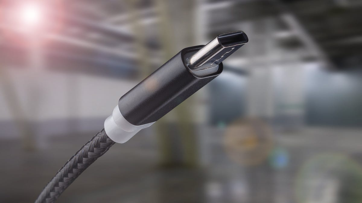 A USB-C cord with wrapped nylon cord.