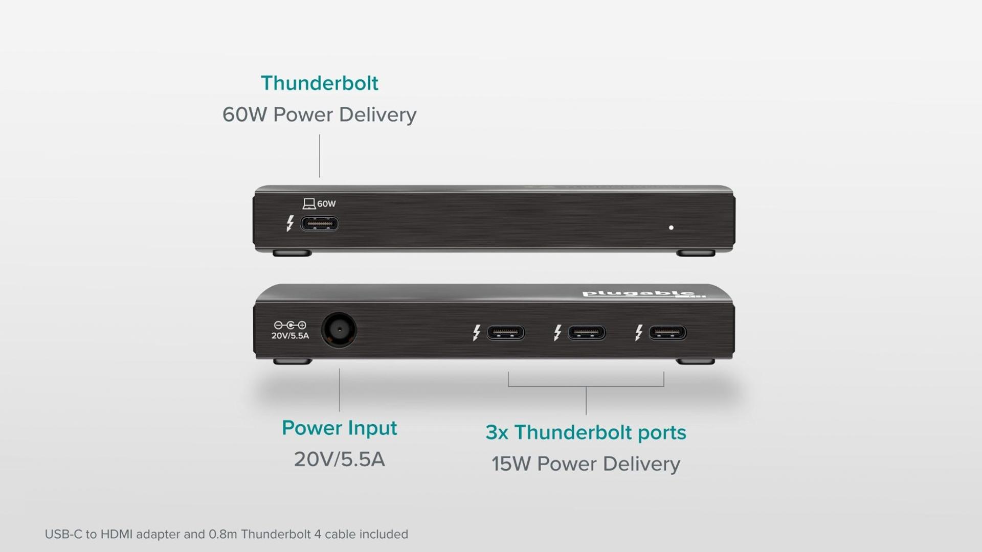 A diagram of the Plugable Thunderbolt 4 hub.