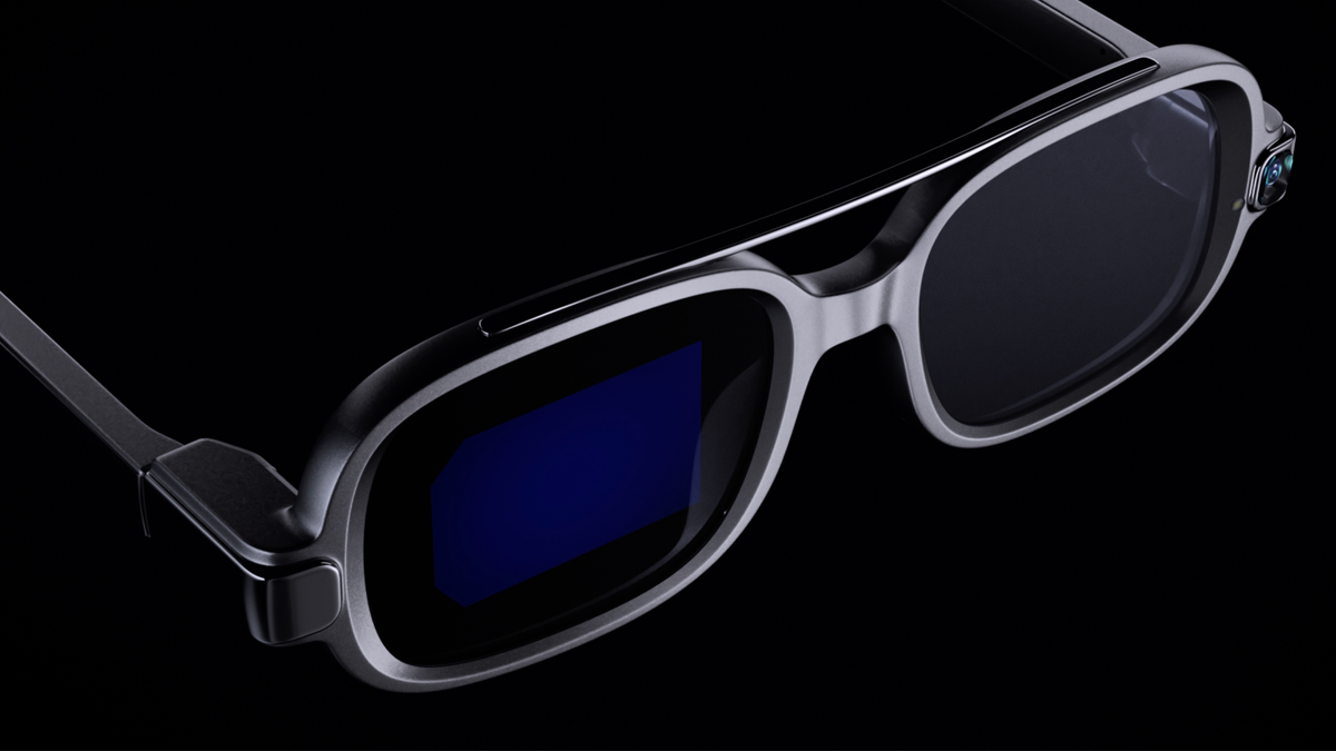 Xiaomi's smart glasses on a dark background. You can barely see the integrated dispaly behind the right lens.