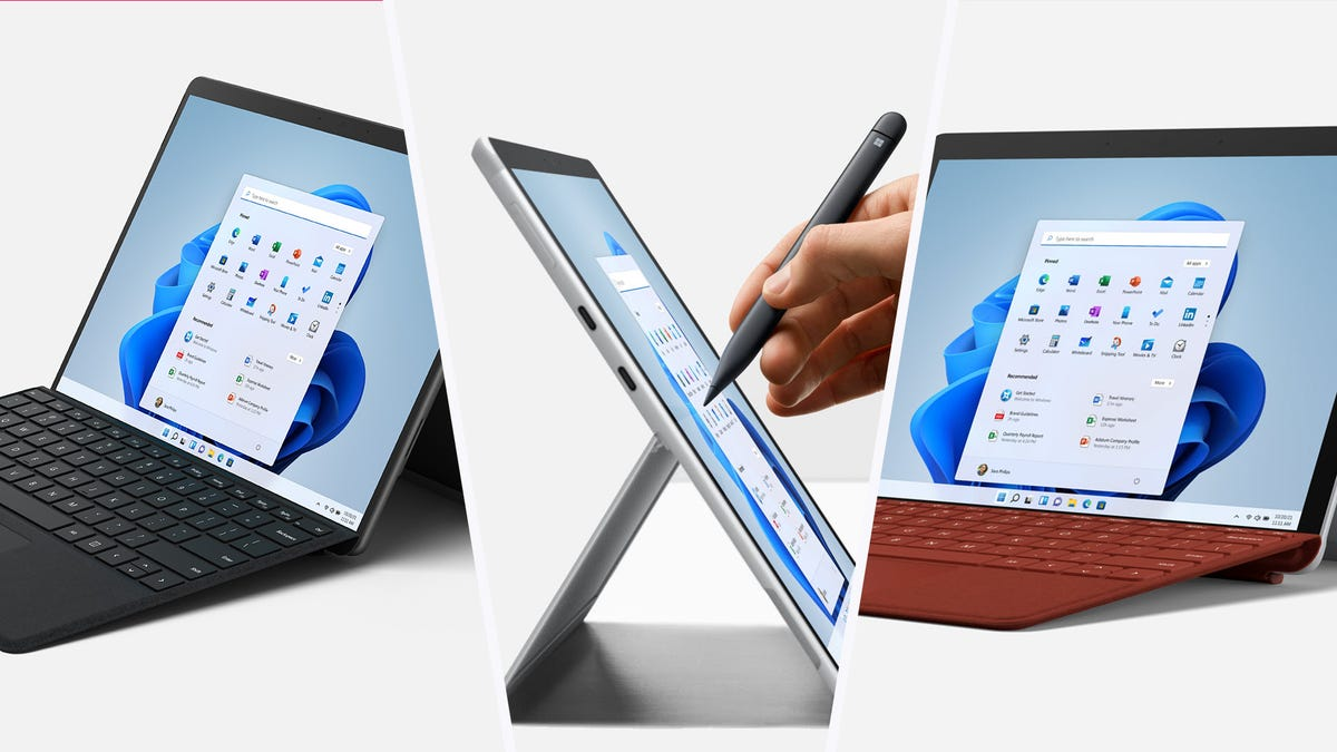 A Surface Pro 8, Pro X, and Go 3 tablet side by side by side.