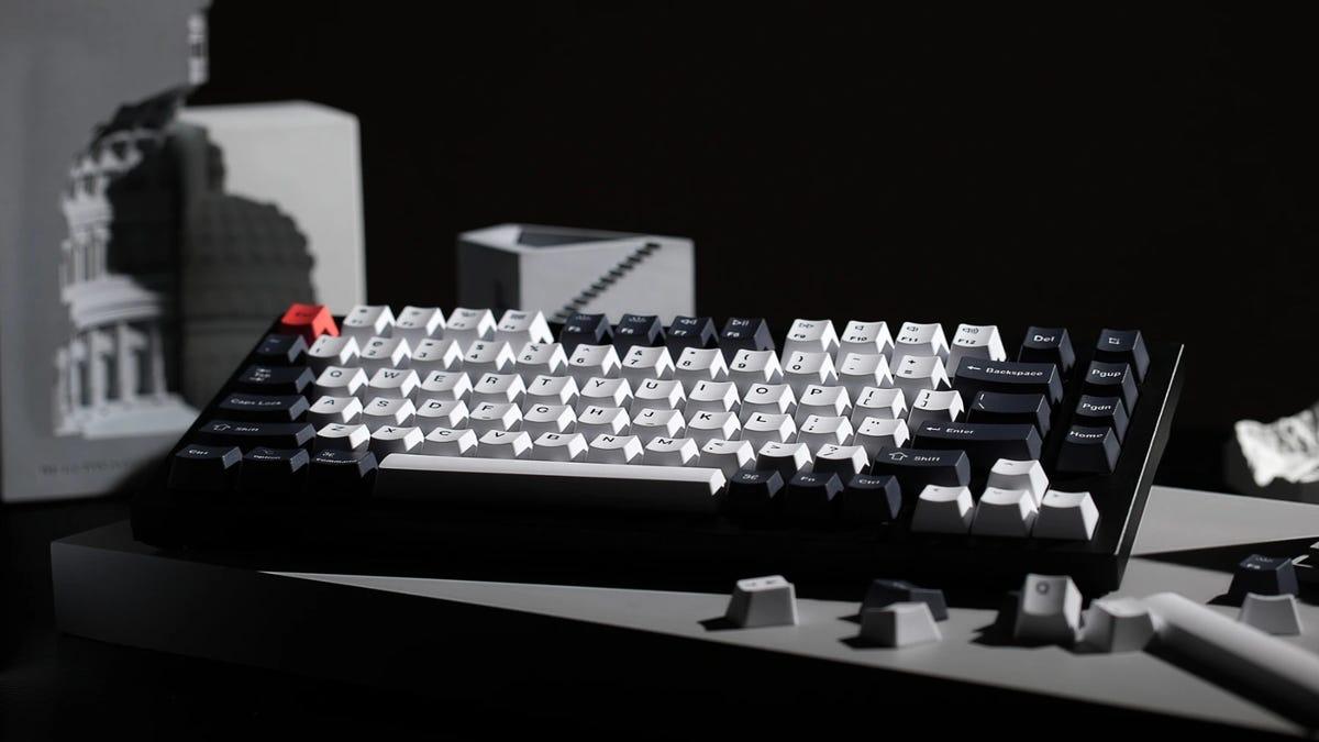 Keychron Q1 keyboard on gray table