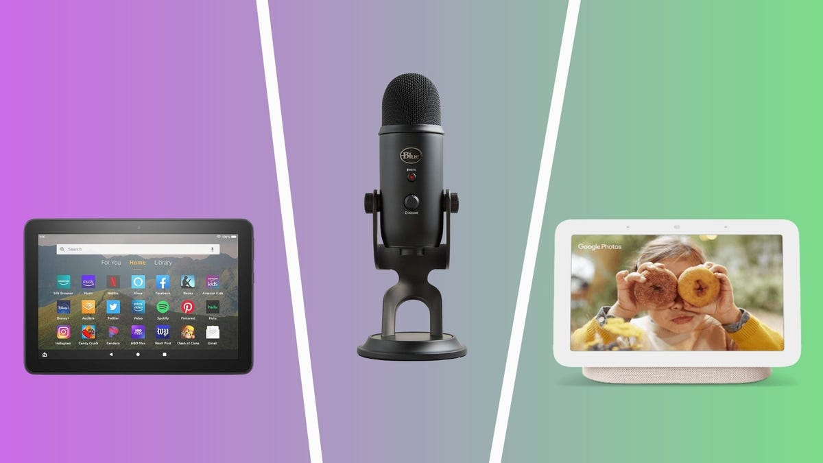 best tech under 100 dollars including amazon fire hd8, blue yeti microphone, and google nest hub