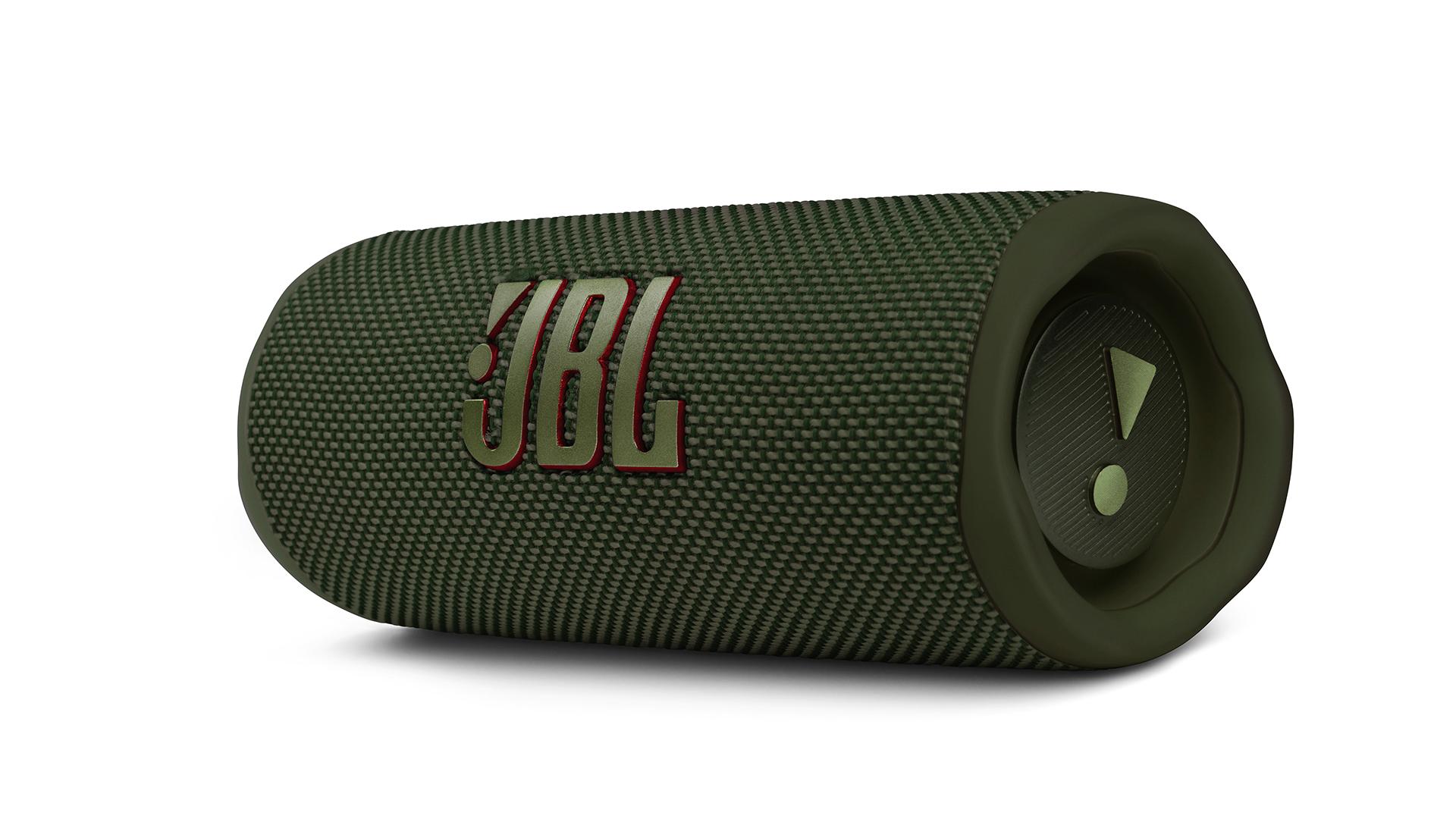 The JBL Flip 6 Bluetooth speaker in green.