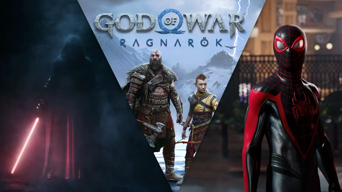A collage of 'God of War: Ragnarok,' 'Spider-Man 2,' and 'Star Wars: Knights of the Old Republic' remake.