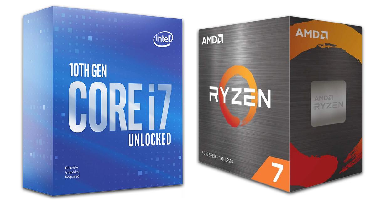 Intel Core i7 and AMD Ryzen 7 CPU boxes.
