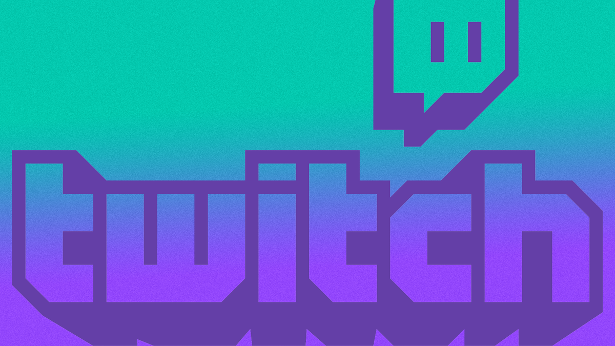 The Twitch logo on a gradient background.