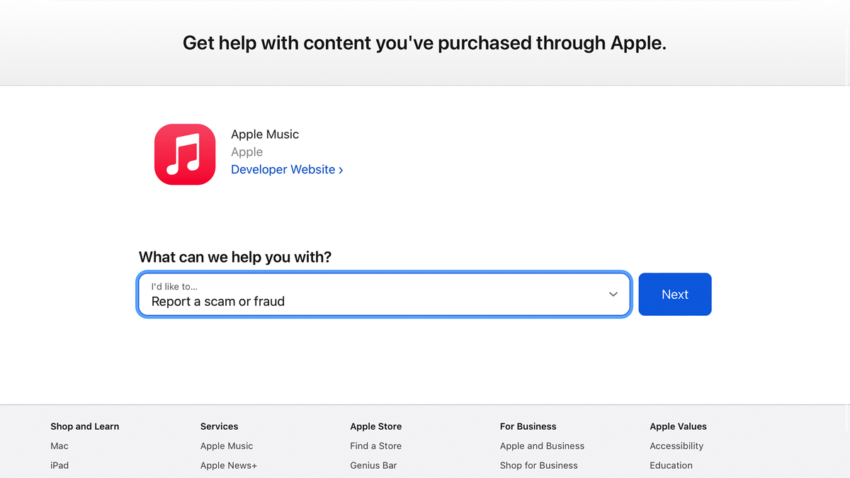 Reporting a scammy app through Apple's new Report a Problem App Store tool.