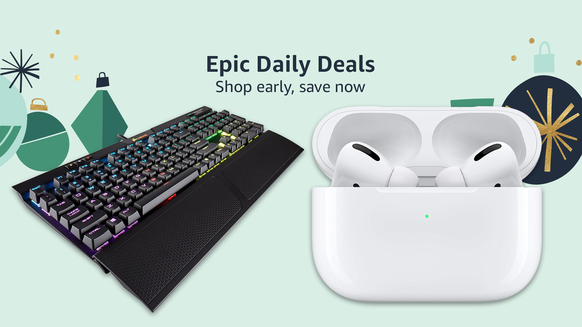 Amazon Epic Daily Deals with AirPods Pro and a CORSAIR k70 Gaming keyboard.
