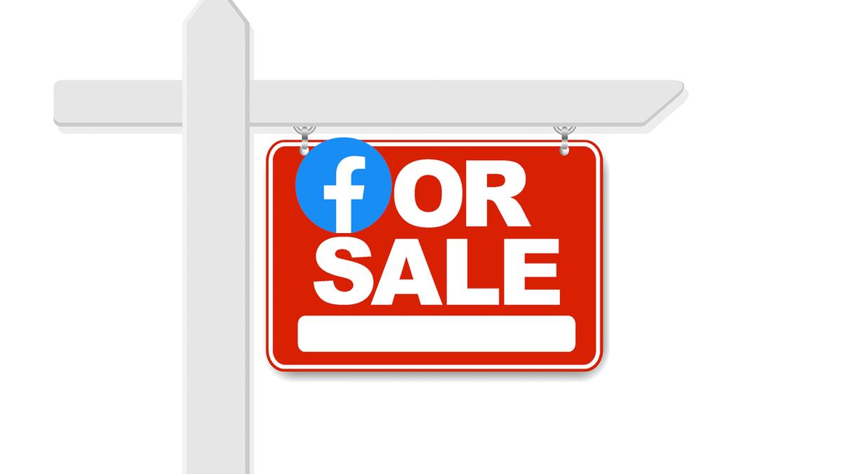 Facebook logo on a For Sale sign.