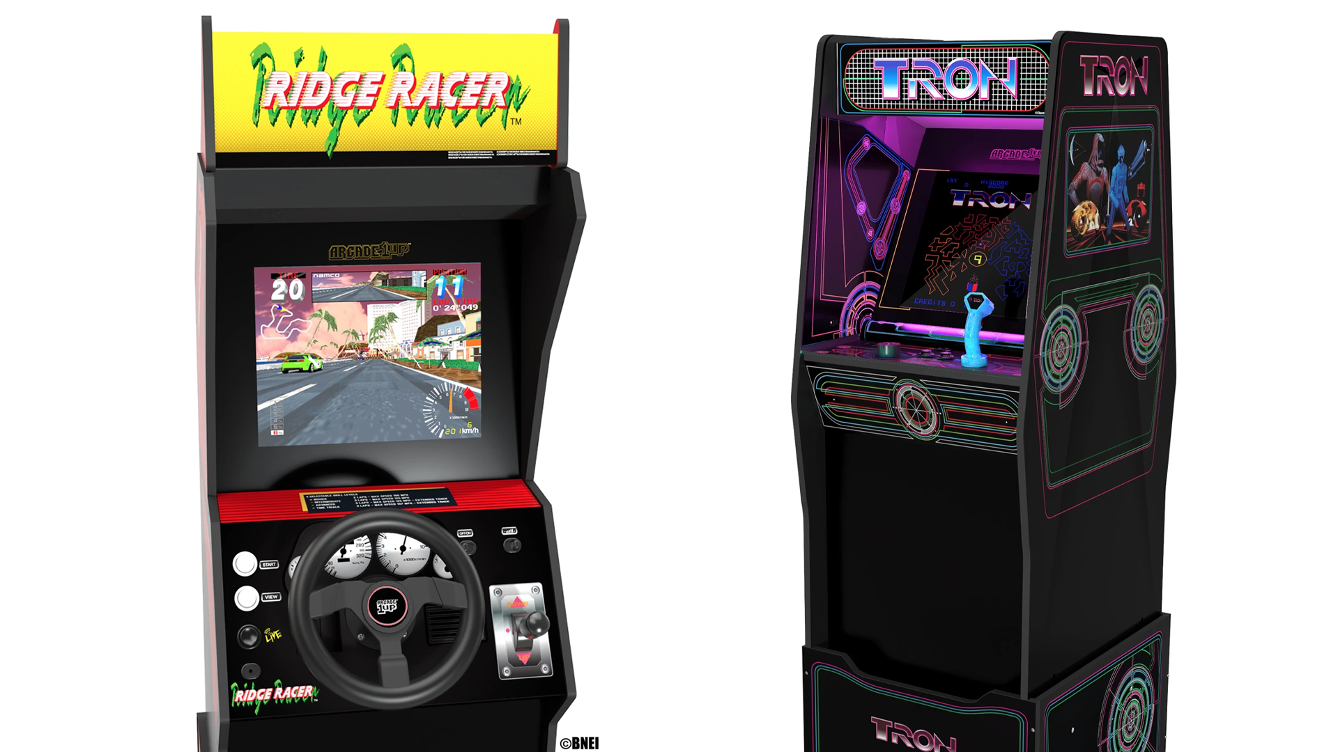 Arcade1Up Tron and Ridge Racer cabinets.