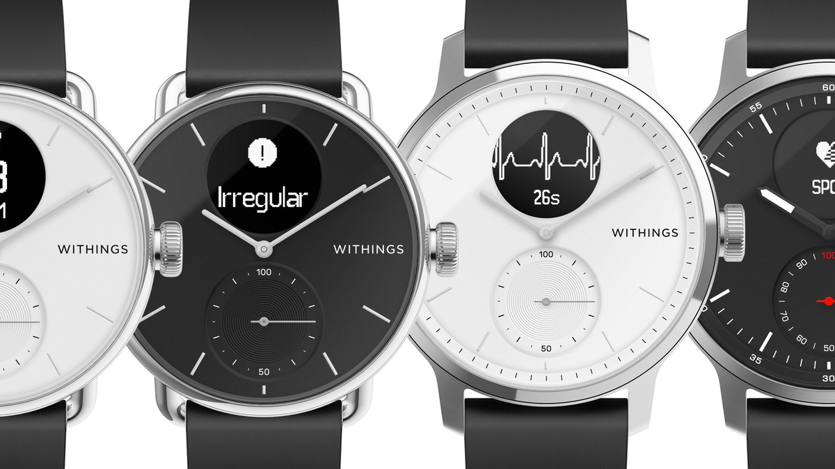 The Withings Scanwatch on a black background. It has a hybrid watchface, with analog hands and a small integrated screen.