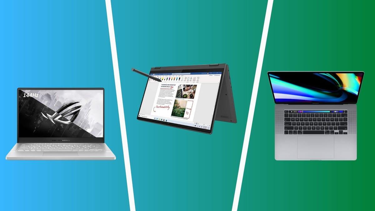 best laptops including asus rog zephyrus g14, lenovo flex 5, and apple macbook air