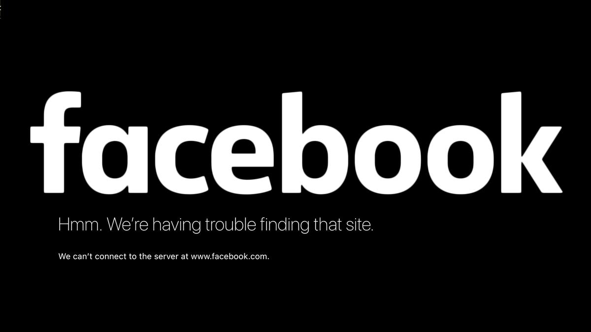 The Facebook logo over a 404 error.