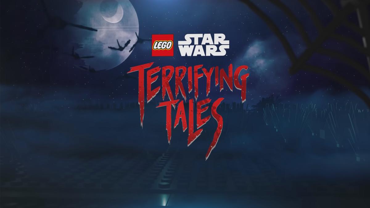 LEGO Star Wars Terrifying Tales logo on a night sky spooky backdrop.
