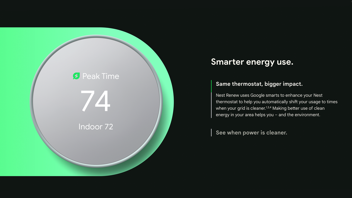 """A banner for Nest Renew stating """"Nest Renew uses Google smarts to enhance your Nest thermostat to help you automatically shift your usage to times when your grid is cleaner."""""""