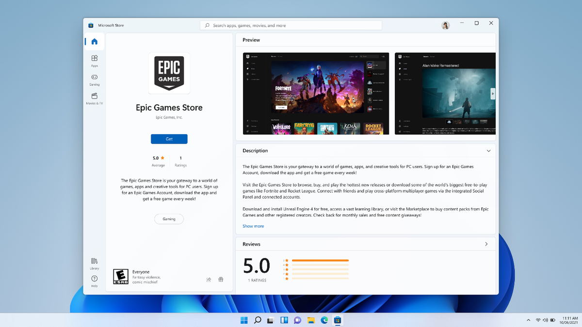 The Windows 11 appstore with Epic Games.
