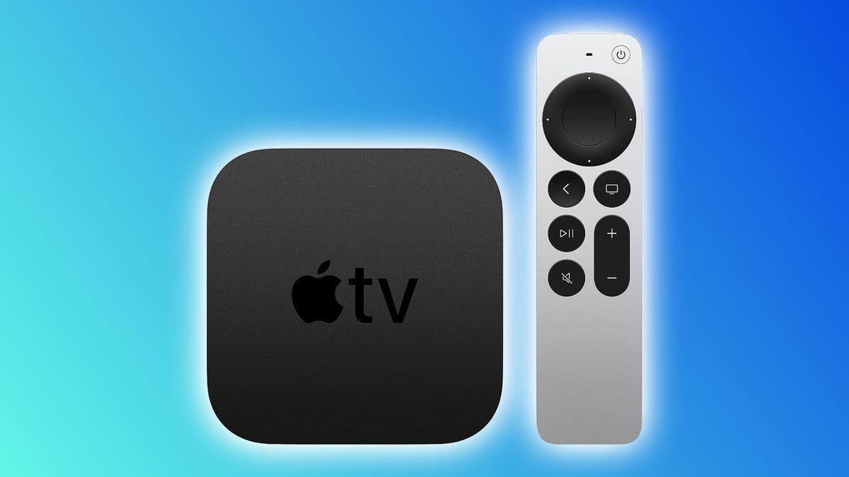 Apple TV 4K against blue background