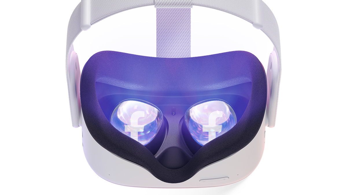 Oculus Quest 2 with Facebook in the headset's eye holes.