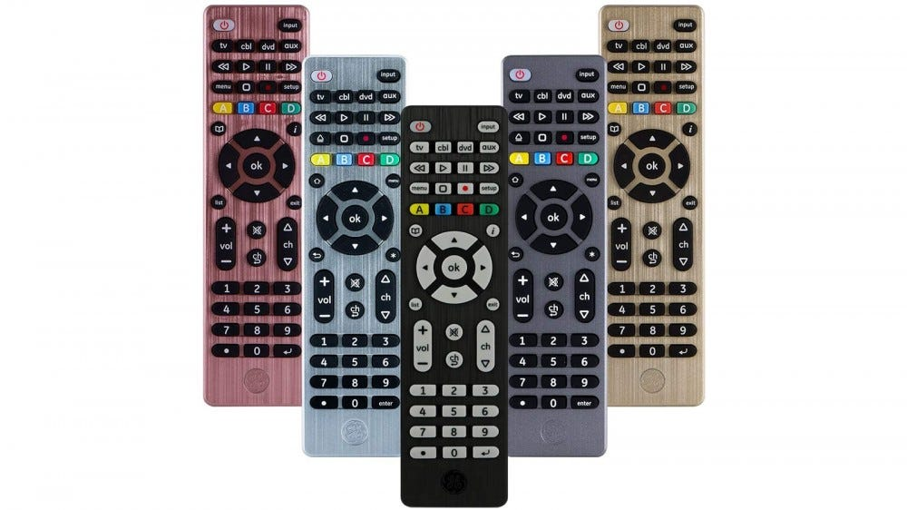 The GE Universal Remote in five different colors