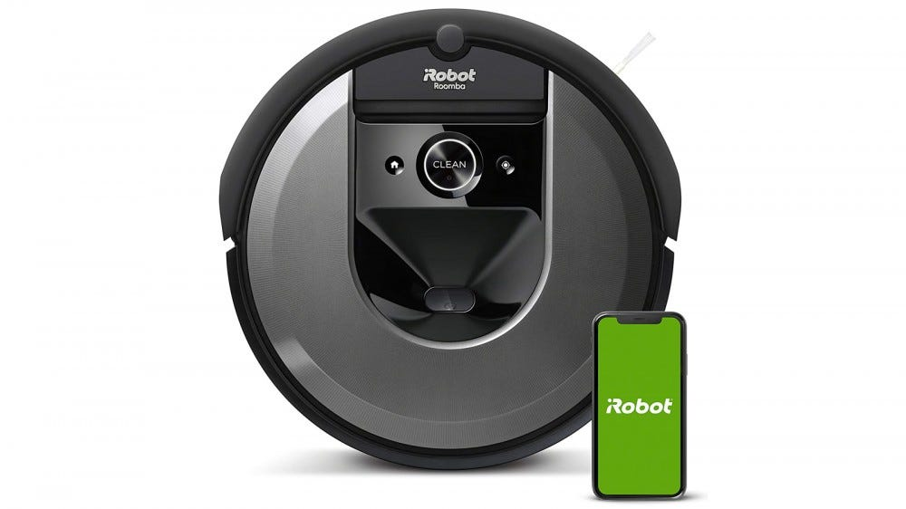 iRobot Roomba i7 and mobile app on white background
