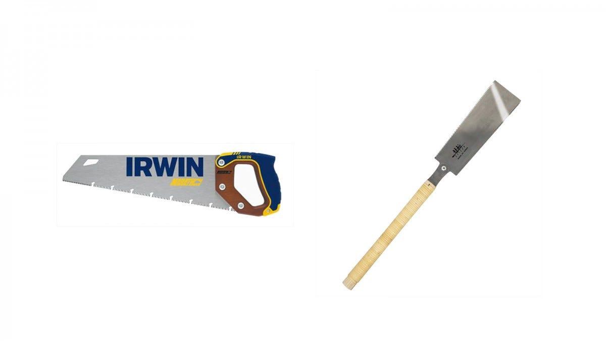 An Irwin Course cut saw next to a Suizan Ryoba saw.