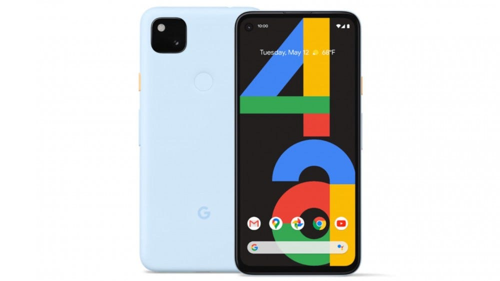 Pixel 4a in the color Barely Blue