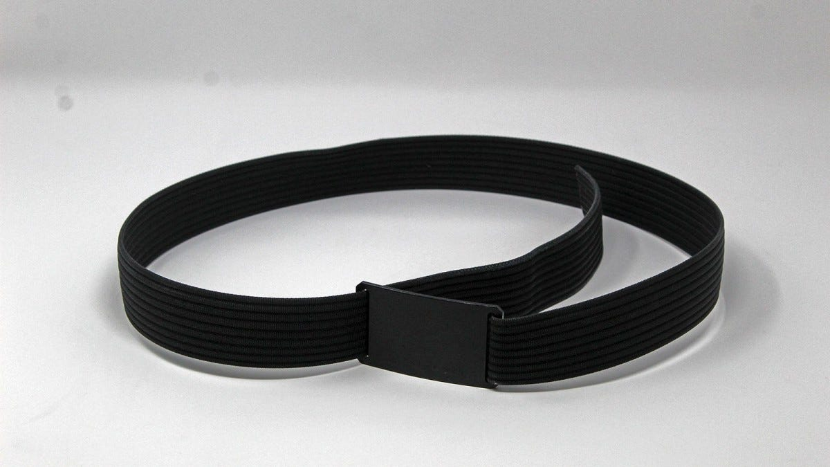 A Grip6 black belt with black buckle in a loop.