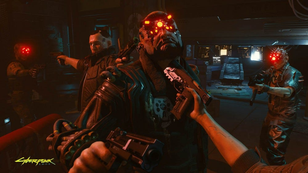 Cyberpunk 2077 screenshot: holding a gun under a cyborg's chin