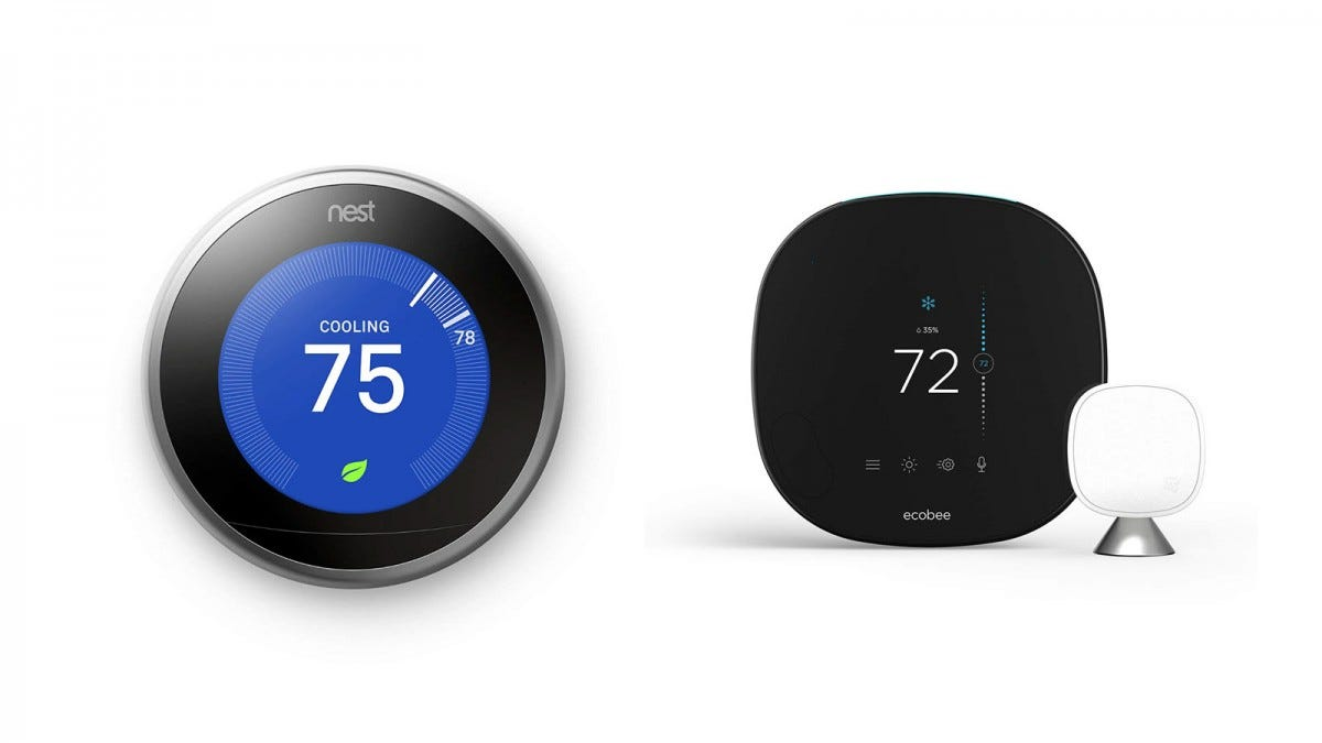 A Nest Learning Thermostat and ecobee smart thermostat.