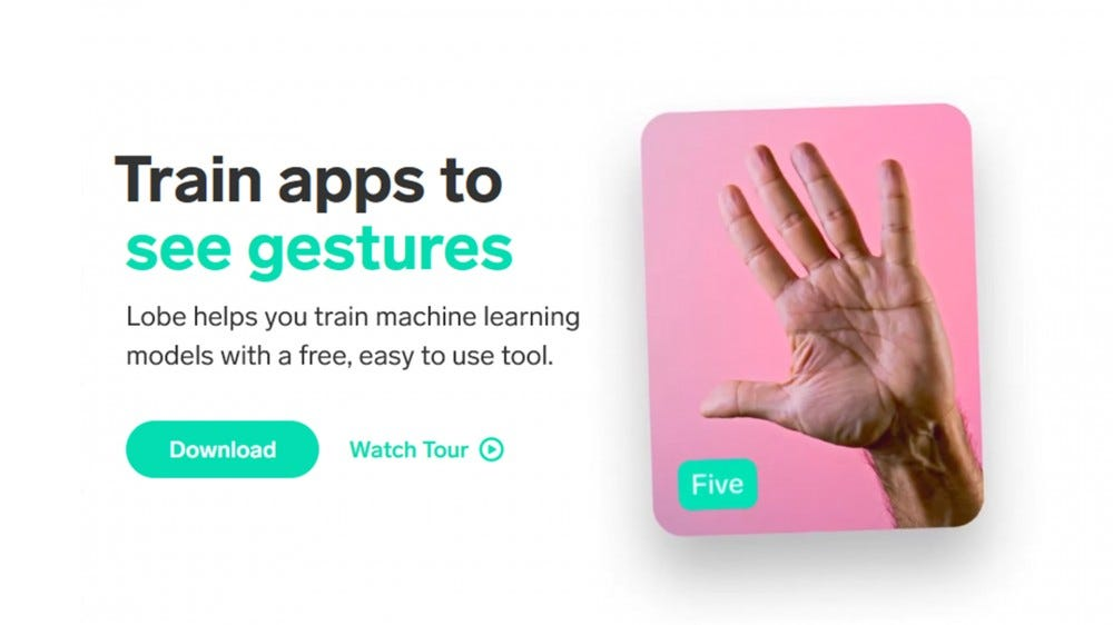 "A screenshot from the Lobe website advertising Lobe's ability to ""see gestures."""
