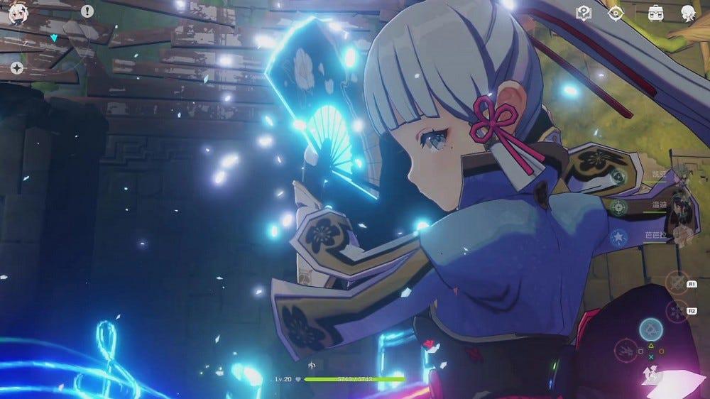 Ayaka from 'Genshin Impact' mid-combat