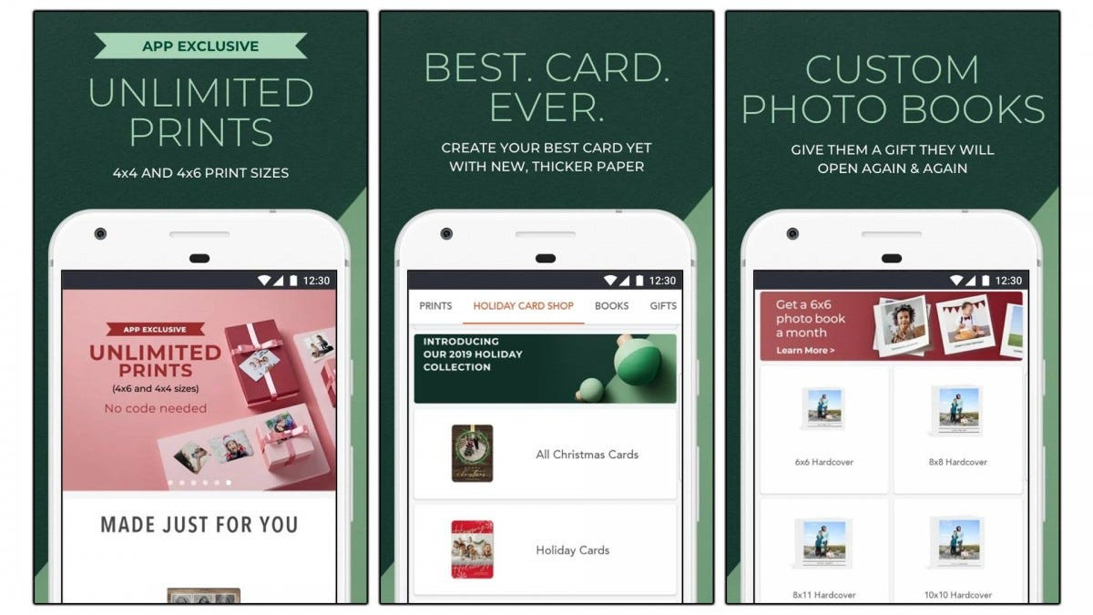 Screenshots of the Shutterfly app.