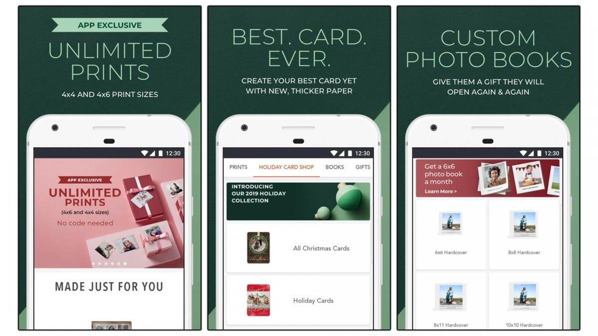 Screenshots of the Shutterfly app.