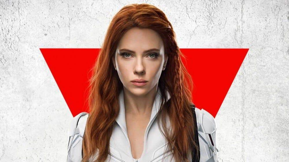 A closeup of Scarlett Johansen as 'Black Widow'