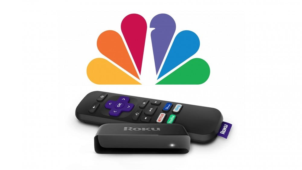 A Roku Premiere streaming stick and the NBC logo.