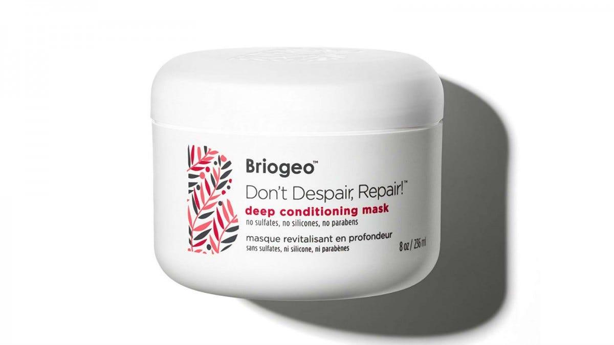 A jar of Briogeo Don't Despair, Repair Deep Conditioning Mask.