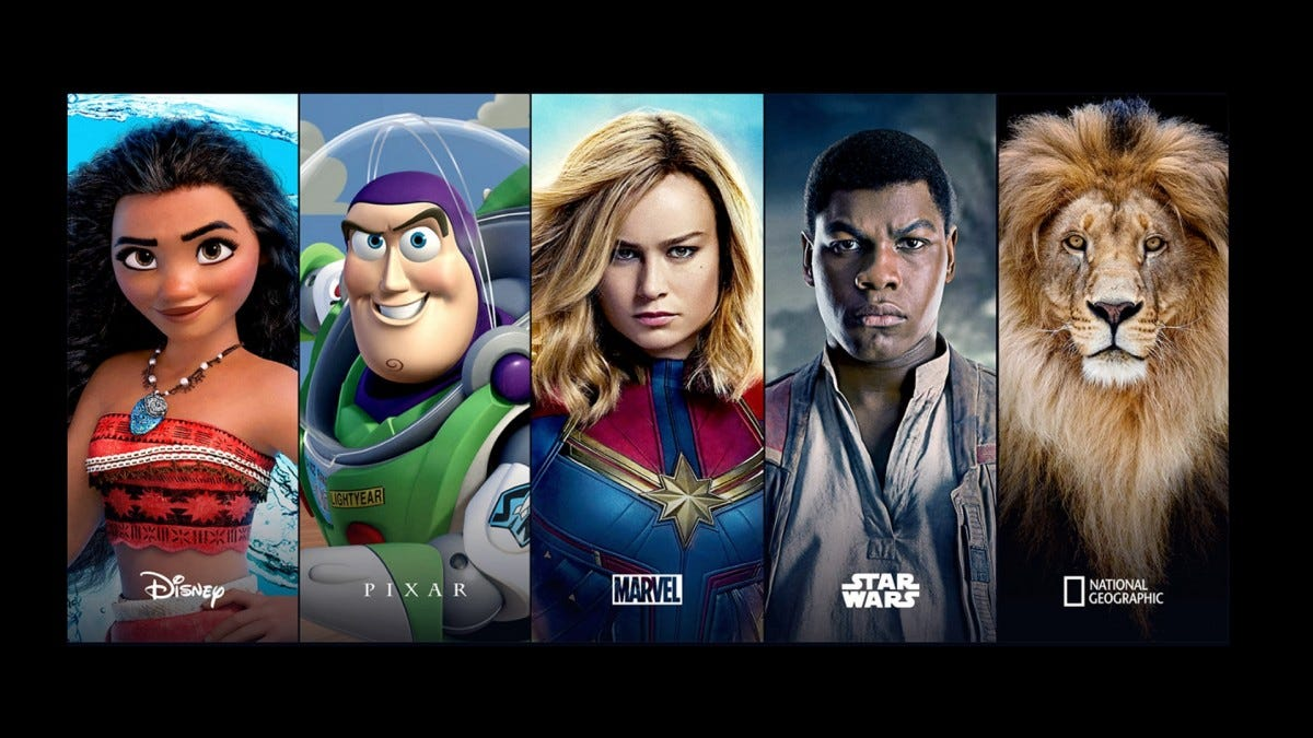 A few of Disney+s starring programs, including Moana, Toy Story, and Captain Marvel.