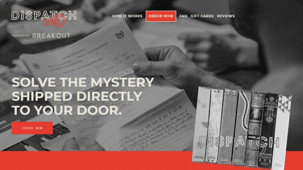 Dispatch mystery story subscription box with puzzles