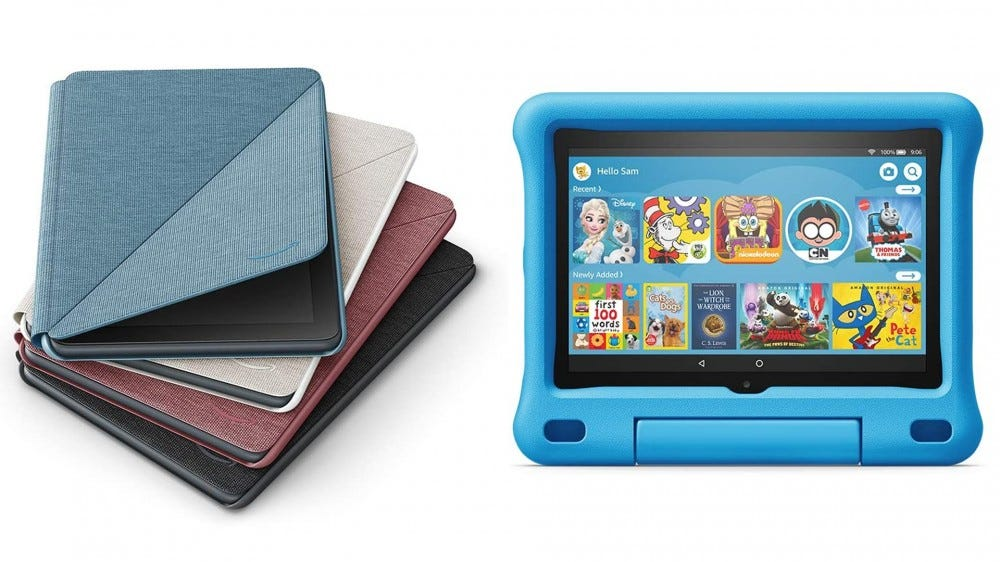 Photos of the Fire HD 8 in a kids case and soft cover case.
