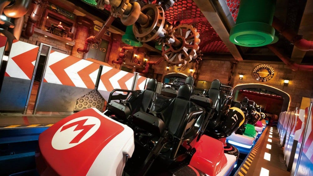 A closeup of a 'Super Mario Kart' styled roller coaster-type ride.