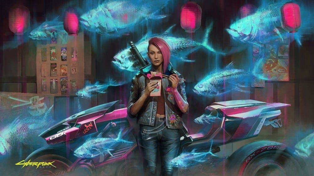 Cyberpunk 2077 promo art: woman eats noodles in front of a motorcycle and holographic fish