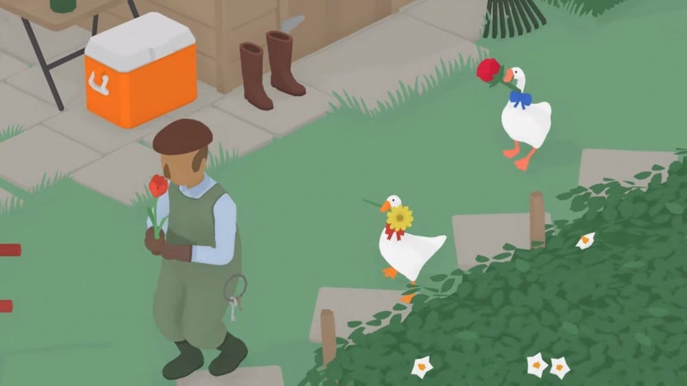 A screenshot of two player mode in 'Untitled Goose Game'