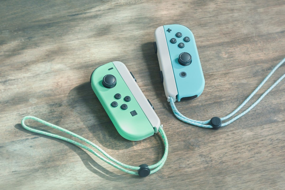 The pastel blue and green Joy-Cons