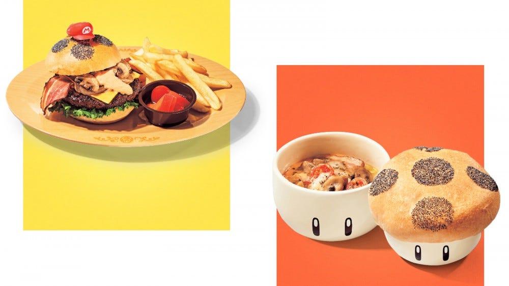 A cheeseburger and pizza bowl option at Super Nintendo World